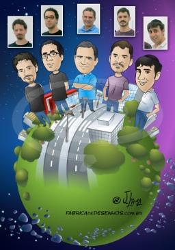 Caricaturas em grupo
