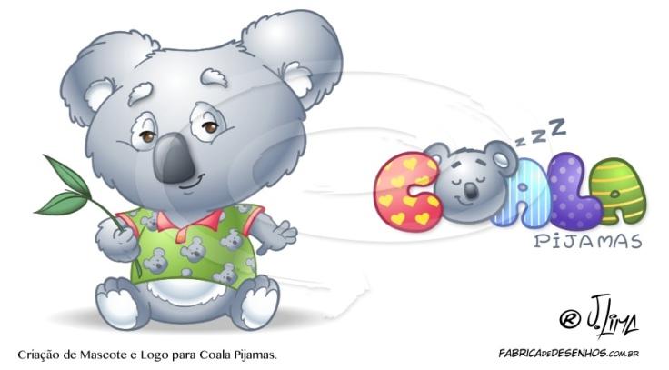 mascote logo coala pijamas cartum desenho jlima marca fofinho