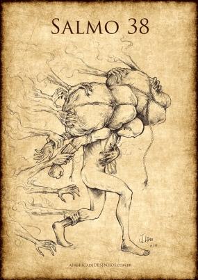 Salmo ilustrado 38 desenho academico corpo homem jlima