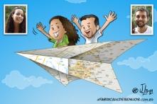 caricarinha casal vaigem aviao papel carica caricatura desenho jlima