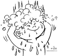 desenho colorir higiene banho menino