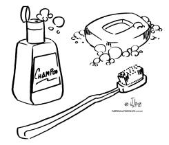 desenho colorir higiene escova sabao shampoo