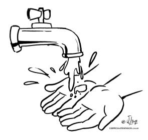 desenho colorir lavando maos torneira agua