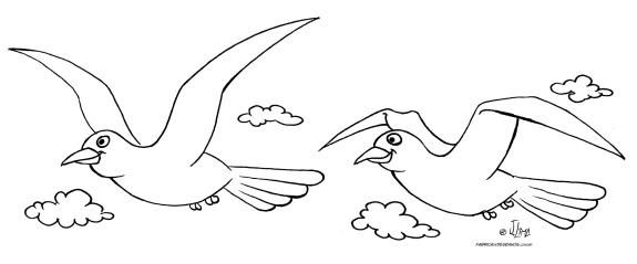 desenho colorir passaros passarinho voando