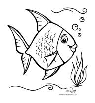 desenho colorir peixinho peixe fundo mar