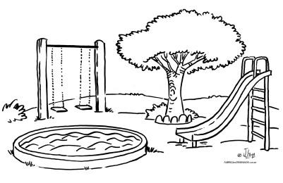 desenho colorir playground parquinho parque