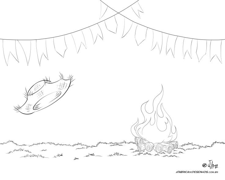festa junina quermesse bandeirinhas fogueira jlima desenho colorir