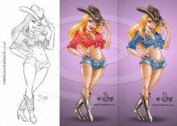 cowgir garota chapeu botas mascote cartum cartoon jlima desenho