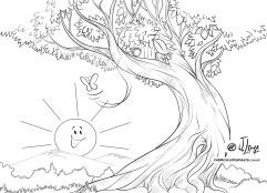 desenho borboletas lagarta arvore sol colorir jlima 03