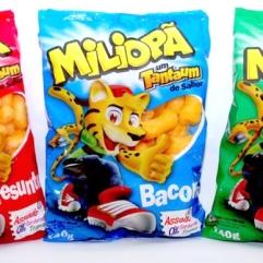 Mascote Miliopã aplicado em embalagens.