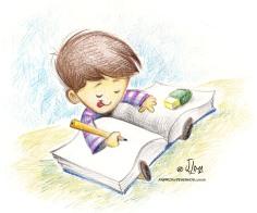 Ilustração para livro em lápis de cor.