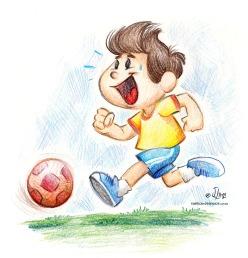 menino futebol bola jogo lapis cor