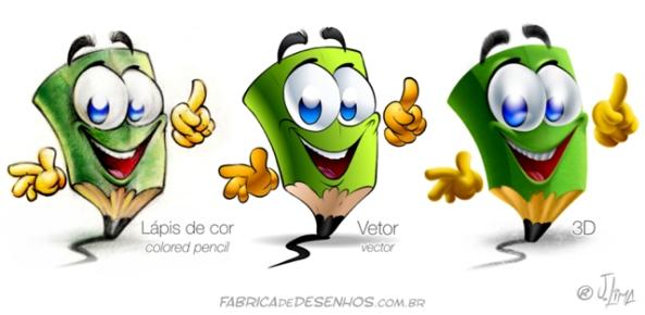 mascote mascot desenho empresa lapis cor pencil color 3d vector vetor J. lima