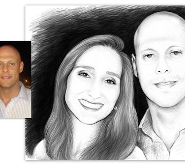 Retrato a lápis para Casal (Pencil Portrait for couple.)