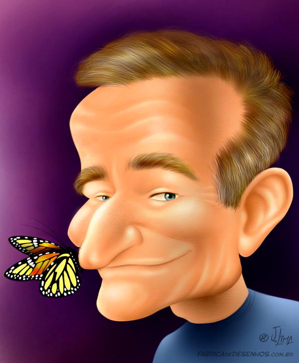 homenagem tribute homage caricature Robin McLaurim Williams by J Lima caricatura