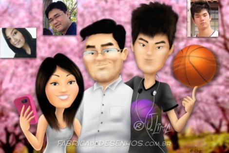 Caricaturas em retrato de família.