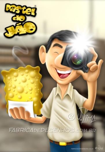 Pastel do Jão, mascote baseado em foto.