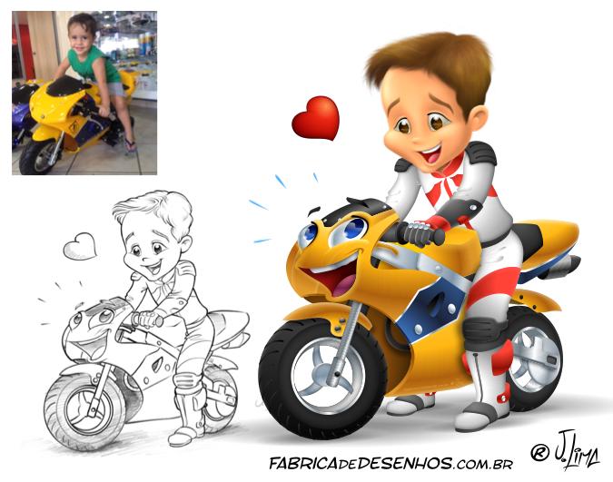 caricatura carica caricature infantil boy moto corrida race menino j