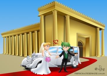Cena casamento em vetor