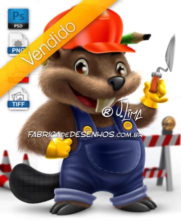 vendido-castor-mascote-personagem-construcao-obra-pedreiro-beaver-mascot-character-construction-mason-work-by-j-lima-1