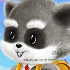 guaxinim mascote personagem desenho fofinho escola mochila aluno cartum raccoon raccoon mascot character design cuddly school backpack student cartoon by jlima 1