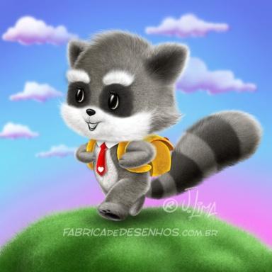guaxinim mascote personagem desenho fofinho escola mochila aluno cartum raccoon raccoon mascot character design cuddly school backpack student cartoon by jlima