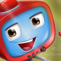 Robo tv vetor mascote personagem cartoon desenho mascot design character red vermelho app celular smartphone iphone robot jlima face