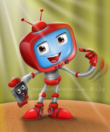 Robo tv vetor mascote personagem cartoon desenho mascot design character red vermelho app celular smartphone iphone robot jlima