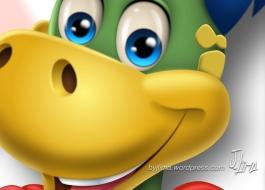 Super Dino Danoninho danone mascot design character design croqui color 3d 2 by jlima