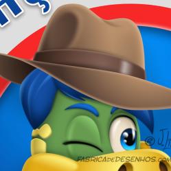 Logo Caça Perdas Danone logo dino danoninho jlima desenho mascote personagem mascot character design chapeu indiana jones lupa 2