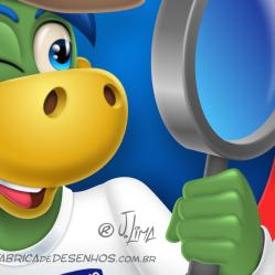 Logo Caça Perdas Danone logo dino danoninho jlima desenho mascote personagem mascot character design chapeu indiana jones lupa 3