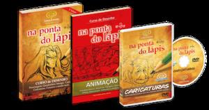 pacote 3 produtos livros desenho animacao e dvd caricaturas copy