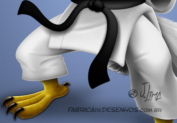 Aguia katare kimono eagle luta arte marcial mascote mascot character design personagem desenho cartum cartoon jlima faixa preta luta careca 3d conceito concept 5