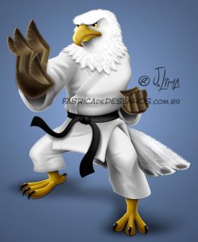 Aguia katare kimono eagle luta arte marcial mascote mascot character design personagem desenho cartum cartoon jlima faixa preta luta careca 3d conceito concept