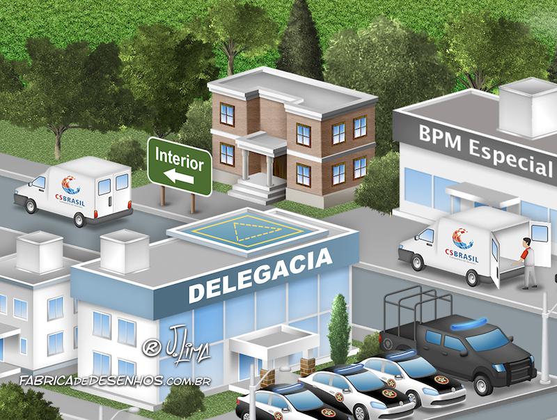 JSL Julio Simoes CS Brasil desenho 3d mapa logistico ilustracao vetor concept art jlima log logistica transporte policia frota rio janeiro 1