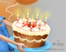 bolo aniversário parabéns conceito de arte cake birthday congratulations concept art arte design mascote personagem mascote character 3d cartão post girl woman mulher menina uniforme desenho ilustração illustration jlima 2