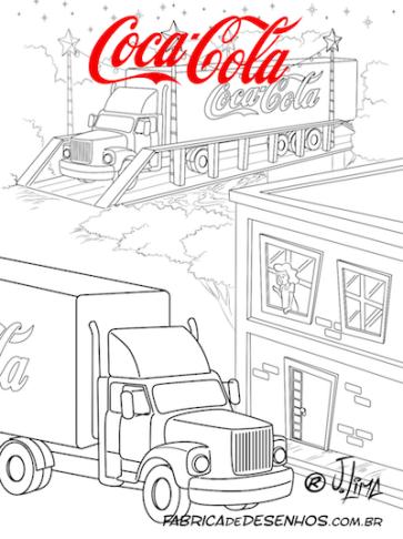 """Livro """"Ponte para Noel"""" para colorir, cliente: Coca-Cola"""