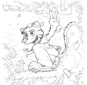 Miliopa mascote desenho jaguatirica menino mascot design character felino boy concept art jlima embalagem miliopa floresta arvore tree natureza florest illustration croqui esboço sketch