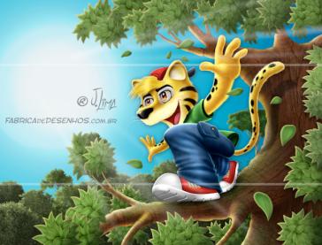 Miliopa mascote desenho jaguatirica menino mascot design character felino boy concept art jlima embalagem miliopa floresta arvore tree natureza florest illustration