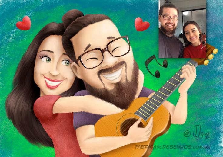 alex-e-fugi-2016-caricatura-carica-caricature-desenho-casal-colorida-pintura-couple-ilustration-jlima-cartoon-cartum-romantico-violao-guitar-music-musica