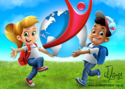 school escola alunos aluno menino menina crianças mochila uniforme logo impacto jlima sketch esboço gilr boy kids mascote personagem character mascot design desenho ilustraçao colorid