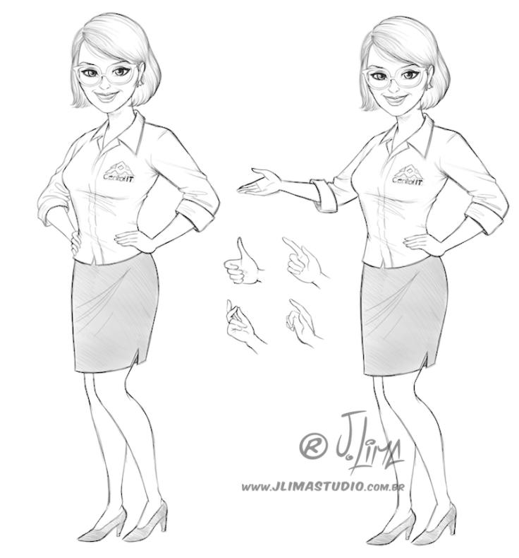 mascote personagem mulher moça garota secretaria design character mascot girl woman jlima ilustracao desenho 3d vetor colorido apresentando esboço sketch rafi
