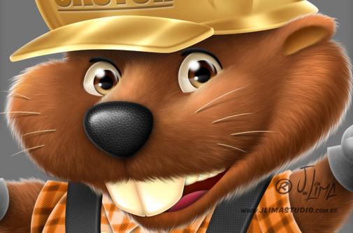 castor beaver mascot design character personagem mascote ilustracao illustration desenho draw 3d color cores jlima pose capacete construcao pá toca pedreiro construtor face