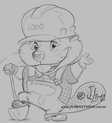 castor beaver mascot design character personagem mascote ilustracao illustration desenho draw 3d color cores jlima pose capacete construcao pá toca pedreiro construtor sketch croqui esb