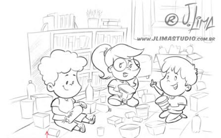 desenho ilustração livro didatico infantil brinquedos reciclados toys sketch esboço rafi croqui