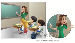 desenho ilustração livro didatico infantil classe professora alunos carteiras school teacher students jlima arte color colorido book ilustration art