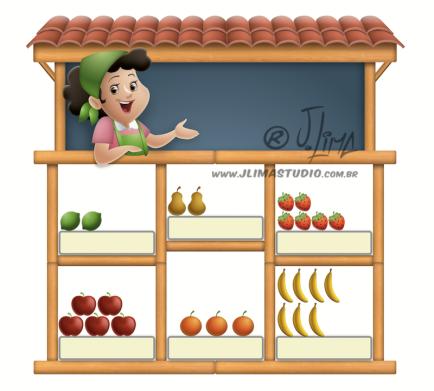 desenho ilustração livro didatico infantil quitanda frutas fruits vendedora feira conta matematica