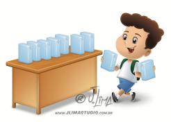 desenho ilustração livro didatico infantil reciclagem caixa leite criança milk kid box boy