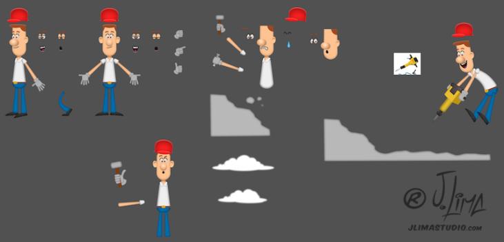 chileno peças desenho jlima anima personagem character design mascot animation animacao pedreiro obra construcao