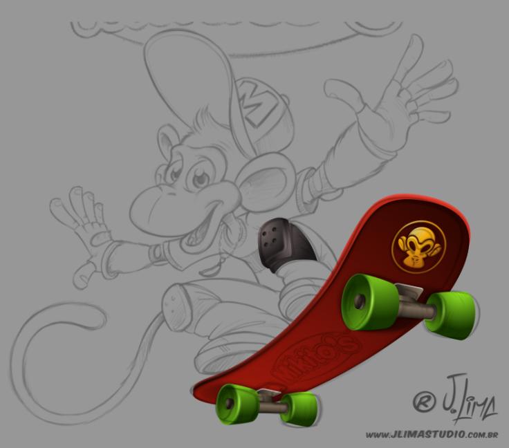 mascote personagem character mascot design monkey macaco chimpanze ximpanse zimpanze mikitos salgadinhos embalagem ilustracao desenho arte 3d jlima skate radical melhor 2b